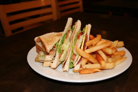 hoagie: Club sandwich, with french fries