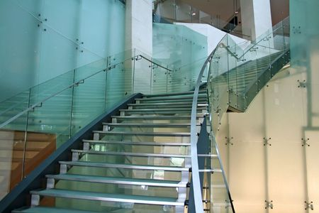 Glass stairs, modern architecture