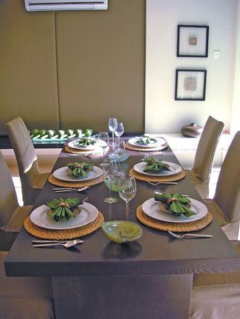 Dining table with chairs, modern asian design photo