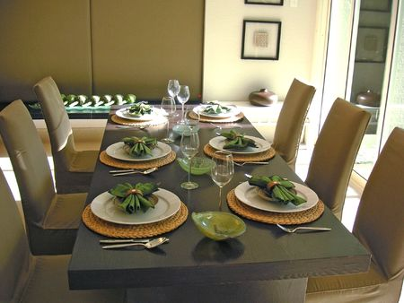 Dining table with chairs, modern asian design Stock Photo - 387713