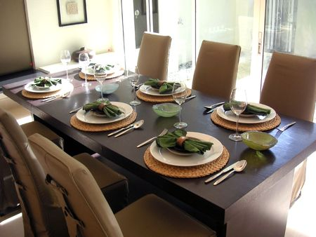dining table and chairs: Dining table with chairs, modern asian design