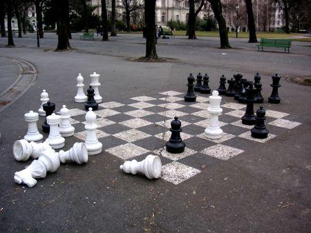jumbled: Oversized chess set in a park in Geneva, Switzerland