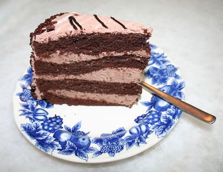 A slice of chocolate cake with icing photo