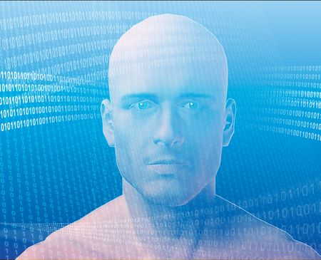 A man's face, surrounding by information Stock Photo - 397798