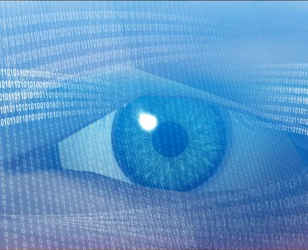 Eye viewing electronic information photo