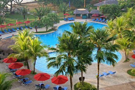Hotel swimming pool, panorama