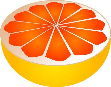 foodstuffs: Sliced pink grapefruit illustration, 3d isometric style Stock Photo