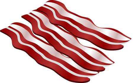browned: Cooked bacon strips. isometric illustration
