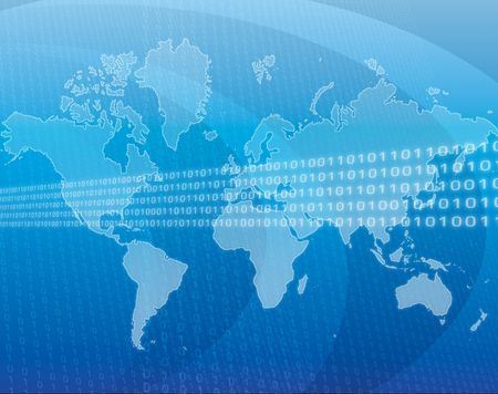 Data transfer over a map of the world Stock Photo - 487199