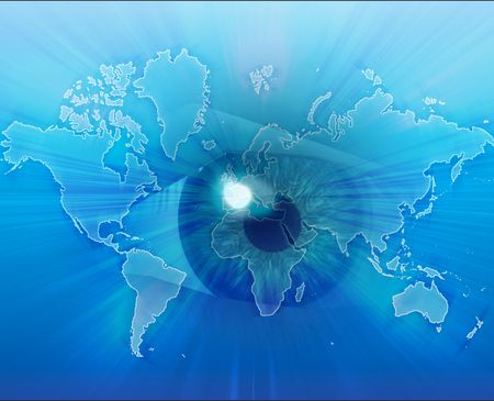 Digital collage of an eye over a map of the world photo