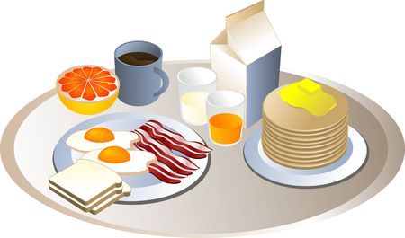 complete: Complete breakfast, isometric-style illustration: bacon, eggs, bread, milk, pancakes, grapefruit, juice Stock Photo