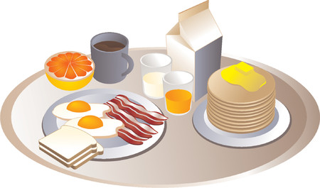 Complete breakfast, isometric-style illustration: bacon, eggs, bread, milk, pancakes, grapefruit, juice Stock Vector - 487196