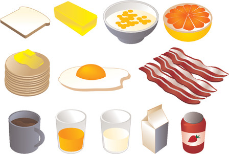 Breakfast clipart illustrations, vector, 3d isometric style: bread, butter, cereal, grapefruit, pancakes, fried egg, bacon, coffee, orange juice, milk, jam Stock Vector - 487195