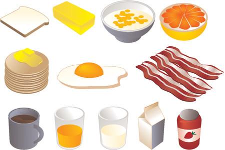 Ilustraciones del clipart del desayuno, vector, estilo isométrico 3d: el pan, mantequilla, cereal, pomelo, crepes, frió el huevo, tocino, café, jugo anaranjado, leche, atasco
