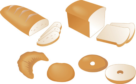 bagel: Gesneden brood, isometrische vector illustratie: gesneden brood, croissant, diner roll, bagel