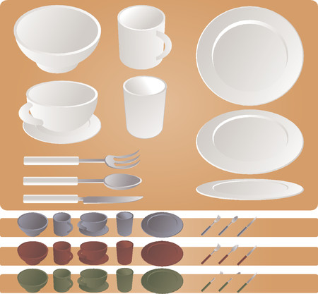 Dining set, vector illustration isometric style in various colors: plates, mug, cup, glass, bowl, fork, spoon, knife