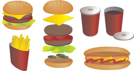 weiner: Fast food vector isometric illustration: hamburger, fries, hot dog, soda Illustration