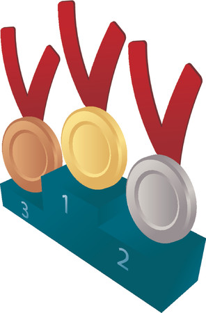 Medal awards on pedelstal: gold, silver and bronze. Isometric illustration Vector