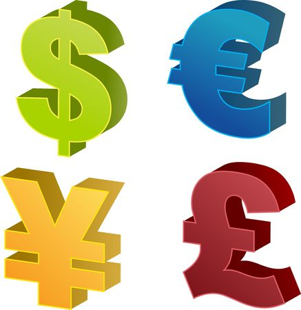 treasury: Currency symbol isometric illustrations: dollar, euro, yen, pound