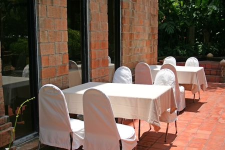 Outdoor ining table in a restaurant Stock Photo - 506868