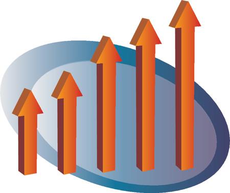 Arrow bar chart, 3d isometric vector illustration Vector