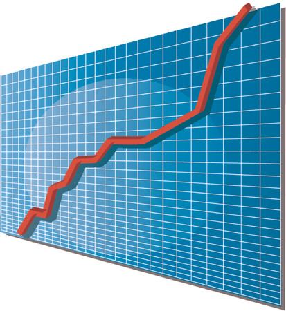 going up: Linechart going up, isometric 3d vector illustration