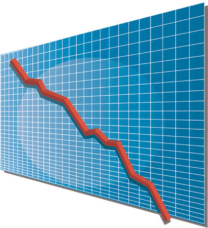 going down: Linechart bajando, isom�trico 3d ilustraci�n vectorial