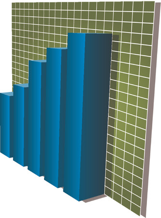Three-d barcharts, blue over green, 3d isometric vector illustration Vector