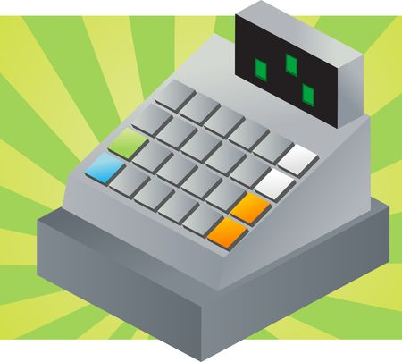 cash machine: Isometric vector illustration of a cash register