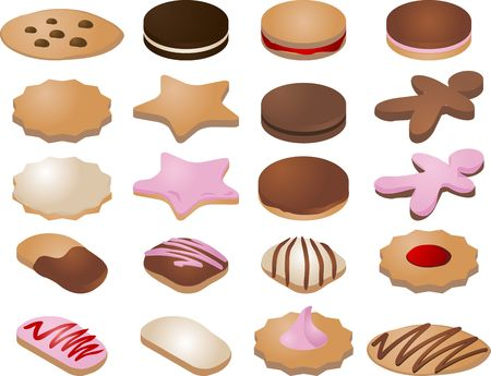Various cookie icons.  You can mix and match your own designs by changing colors and elements.  Vector isometric illustration Stock Illustration - 531084