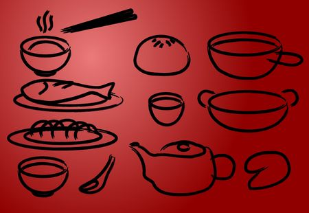 fortune cookie: Chinese cuisine icons, done in painted brush style