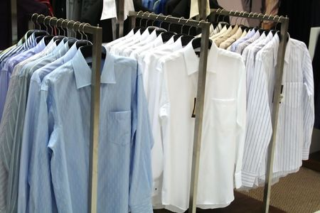 Mens shirts on display, for sale in a department store photo