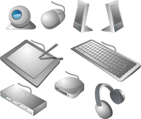 Computer peripherals: webcame, mouse, speakers, pen tablet, keyboard, usb hub, card reader, headphones. Isometric vector illustration Stock Illustration - 539040