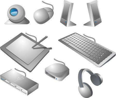Computer peripherals: webcame, mouse, speakers, pen tablet, keyboard, usb hub, card reader, headphones. Isometric vector illustration Stock Illustration - 539040