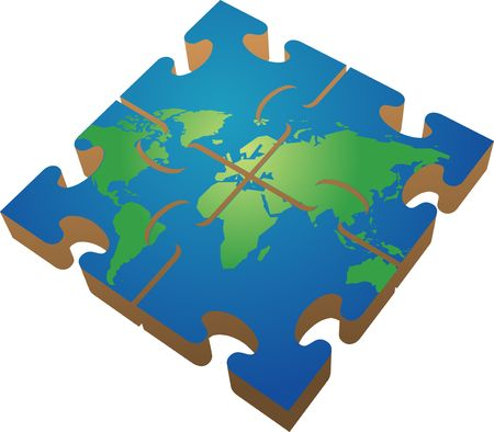 Jigsaw of the world; 3d isomtric vector illustration illustration
