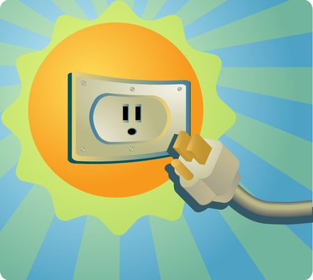 outlet: Solar energy: the sun with an electrical outlet.  Vector illustration