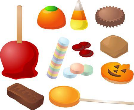 Halloween candy. Caramal apple, pumpkin jelly, candy corn, peanut butter cup, cinammon, caramel, cookies, chocolate bar, lollipop. Stock Photo - 557576