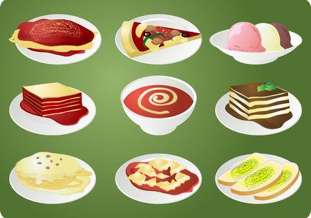 lasagna: Italian cuisine: spaghetti, pizza, lasagna, soup, fettuccine, ravioli, garlic bread, tiramisu, ice cream Stock Photo