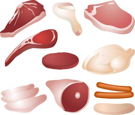 Varioust cuts of raw meat: steak, drumstick, pork chop, lamb chop, burger, whole chicken  poultry, chicken breast, mutton leg, sausages Stock Photo