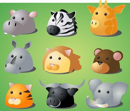 Cartoon illustration of African wild safari animals: hippo, zebra, giraffe, rhino, lion, monkey, tiger, buffalo, lion Stock Illustration - 557581