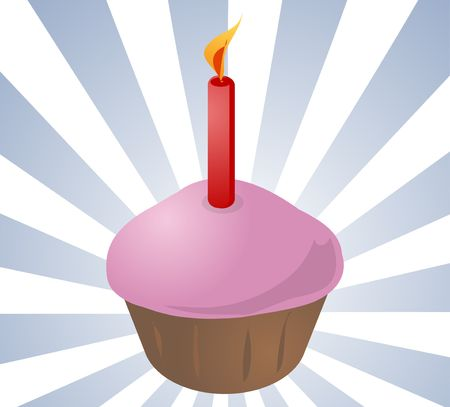 commemoration: Birthday cupcake, with a lit candle