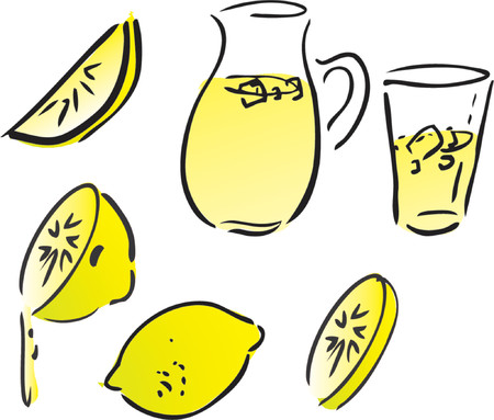 Lemonade and lemons, retro hand-drawn style. Lemon and lemon slices, pitcher and glass of lemonade Vector