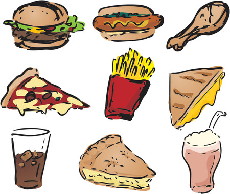 Fast food icons, hand-drawn look: hamburger, hotdog, fried chicken, pizza, fries, grilled cheese sandwich, pie, shake Vector