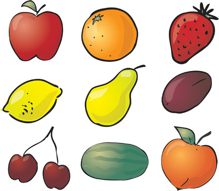 Illustration of fruits, hand-drawn look: apple, orange, strawberry, lemon, pear, plum, cherries, watermelon, peach Vector