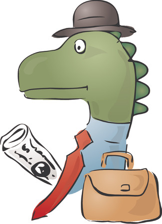 Illustration of a dinosaur businessman, with a briefcase and newspaper Vector