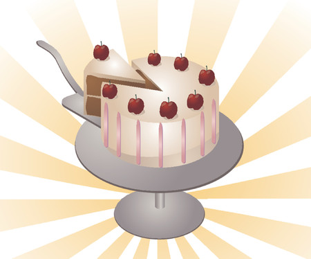 Illustration of a chocolate cake with white icing and cherries on top Vector