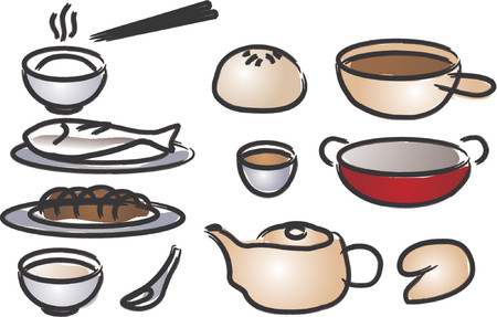 Chinese cuisine icons, done in painted brush style Stock Vector - 738910