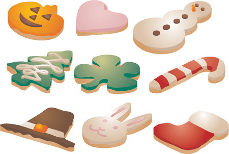 customize: Festive seasonal cookies, decorated with icing. Isometric Vector illustration