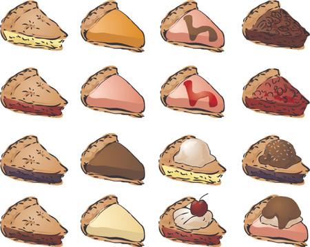 pecan pie: Variedad de tartas y coberturas. Mezclar y combinar para crear sus propias variaciones. Ilustraci�n vectorial  Vectores
