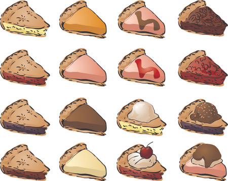 cheese cake: Variety of pies and toppings. Mix and match to create your own variations. Vector illustration